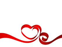 Heart from ribbon. Heart from red ribbon, Valentine day card background Royalty Free Stock Images
