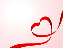 Heart from ribbon. Heart from red ribbon, Valentine day card background Stock Photos
