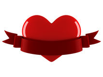Heart with ribbon. Red heart with ribbon on white vector illustration