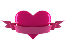 Heart with ribbon. Pink heart with blank ribbon Royalty Free Stock Image