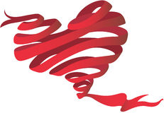 Heart and ribbon. Illustration of a heart and ribbon on a white background Stock Photography