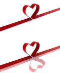 Heart ribbon. Red heart ribbon over white background with reflection royalty free illustration