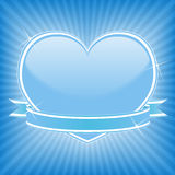 Heart with ribbon. Blue heart with stars and ribbon Royalty Free Stock Photos