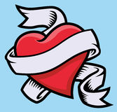 Heart with ribbon. Vector illustration of a heart wrapped with a ribbon vector illustration