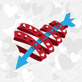 Heart ribbon with arrow Royalty Free Stock Image