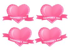 Heart with ribbon banner set. Happy Valentine`s Day. Vector illustration Stock Images
