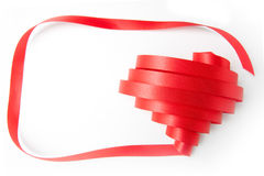 Heart ribbon. Blank greeting card with ribbon form into heart shape Stock Photography