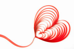 Heart ribbon. Blank greeting card with ribbon form into heart shape Royalty Free Stock Photo