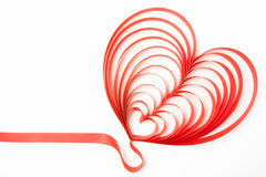 Heart ribbon. Blank greeting card with ribbon form into heart shape Royalty Free Stock Image