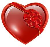 Heart with ribbon bow. Red heart with ribbon bow over white stock illustration