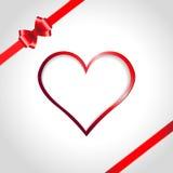 Heart and ribbon bow Royalty Free Stock Photos