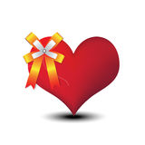 Heart and ribbon bow Royalty Free Stock Photos