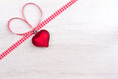Heart ribbon bow red white Royalty Free Stock Photo