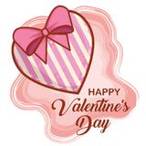 Heart with ribbon bow to happy valentines day. Vector illustration stock illustration