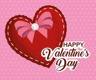 Heart with ribbon bow to valentine day celebration. Vector illustration vector illustration