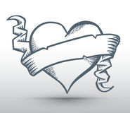 Heart with ribbon drawing banner Stock Image