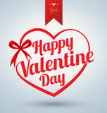 Heart ribbon with Happy valentine Stock Image