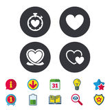 Heart ribbon icon. Timer stopwatch symbol. Royalty Free Stock Photo