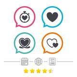 Heart ribbon icon. Timer stopwatch symbol. Stock Image