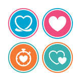 Heart ribbon icon. Timer stopwatch symbol. Stock Image