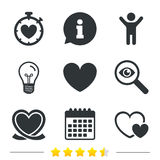Heart ribbon icon. Timer stopwatch symbol. Royalty Free Stock Photos