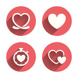 Heart ribbon icon. Timer stopwatch symbol Stock Photography