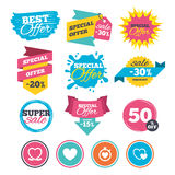 Heart ribbon icon. Timer stopwatch symbol. Stock Images