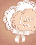 Heart ribbon and laces greeting card. postcard. sweet love valentine card. raster version Stock Image