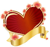 Heart with ribbon and orchids Royalty Free Stock Photography