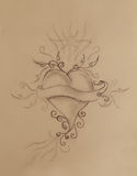 Heart and ribbon with ornament, original drawing, pencil sketch on paper. Royalty Free Stock Photo