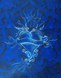Heart and ribbon with ornament, original drawing, pencil sketch on paper. Color effect. Royalty Free Stock Photography