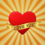Heart with ribbon and phrase Love You. Stock Image
