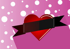 Heart with a ribbon on a pink background Stock Photo