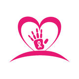 Heart with ribbon pink breast cancer Royalty Free Stock Images