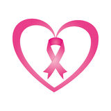 Heart with ribbon pink breast cancer Royalty Free Stock Photography