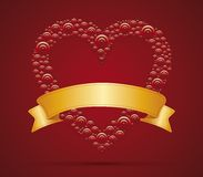 Heart and ribbon. Red  Heart with gold ribbon for your text Stock Photos