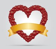 Heart and ribbon. Red  Heart with gold ribbon for your text Royalty Free Stock Image