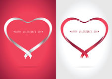 Heart ribbon Red and White Royalty Free Stock Image