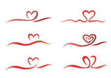 Heart ribbon set Stock Photography