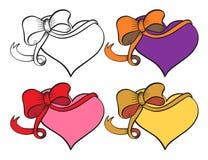 Heart with ribbon set. Royalty Free Stock Photo