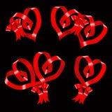Heart of ribbon set of vector symbols. Royalty Free Stock Photo