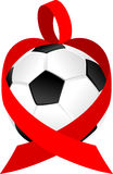Heart Ribbon Soccer Ball or Football Stock Photography