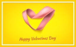 Heart from ribbon Valentine day vector background eps 10. Heart from ribbon St. Valentine day vector background. Brochure or poster design. Vector illustration Stock Photos
