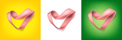 Heart from ribbon Valentine day vector background eps 10. Heart from ribbon St. Valentine day vector background. Brochure or poster design. Vector illustration Stock Image