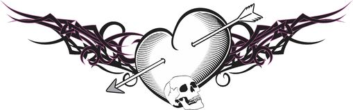 Heart and ribbon tattoo arrow Royalty Free Stock Image