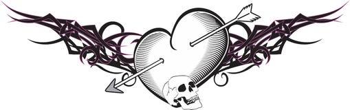 Heart and ribbon tattoo arrow Royalty Free Stock Image