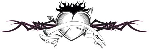Heart and ribbon tattoo tshirt arrows Stock Photo