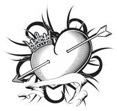 Heart and ribbon tattoo tshirt crown Royalty Free Stock Images
