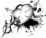 Heart and ribbon tattoo tshirt skull Stock Photo