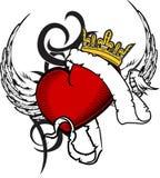 Heart and ribbon tattoo tshirt2 Royalty Free Stock Image